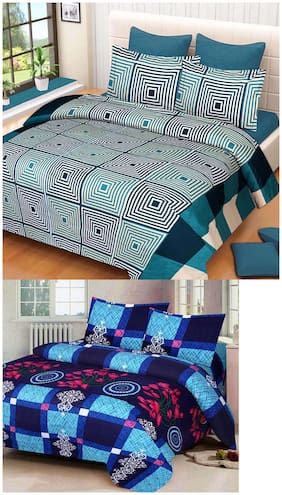 ProfitBlitz 3D Printed Poly Cotton Two Double Bed Sheet With Four Pillow Covers 3D58