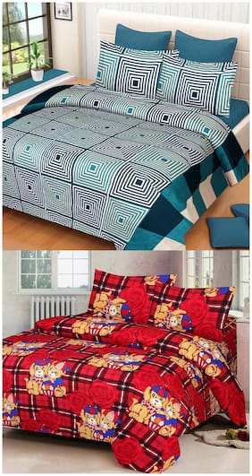 ProfitBlitz 3D Printed Poly Cotton Two Double Bed Sheet With Four Pillow Covers 3D59