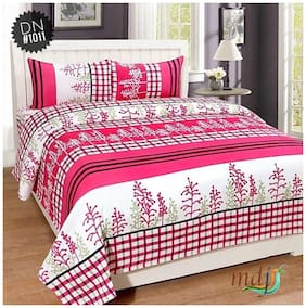 Profit blitz Microfiber Floral Double Size Bedsheet ( 1 Bedsheet With 2 Pillow Covers , Pink )