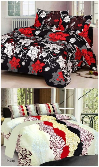 ProfitBlitz 3D Printed Poly Cotton Two Double Bed Sheet With Four Pillow Covers 3D97