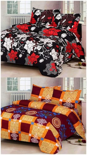 ProfitBlitz 3D Printed Poly Cotton Two Double Bed Sheet With Four Pillow Covers 3D93