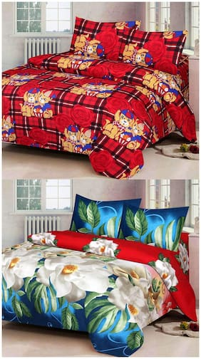 ProfitBlitz 3D Printed Poly Cotton Two Double Bed Sheet With Four Pillow Covers 3D116