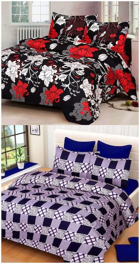 ProfitBlitz 3D Printed Poly Cotton Two Double Bed Sheet With Four Pillow Covers 3D89
