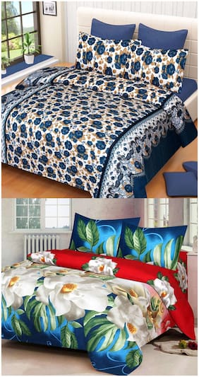 ProfitBlitz 3D Printed Poly Cotton Two Double Bed Sheet With Four Pillow Covers 3D106