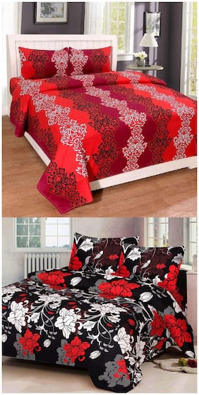 ProfitBlitz 3D Printed Poly Cotton Two Double Bed Sheet With Four Pillow Covers 3D40