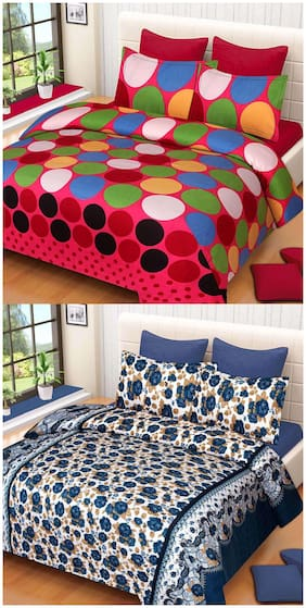 ProfitBlitz 3D Printed Poly Cotton Two Double Bed Sheet With Four Pillow Covers 3D43