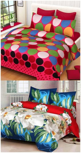 ProfitBlitz 3D Printed Poly Cotton Two Double Bed Sheet With Four Pillow Covers 3D47