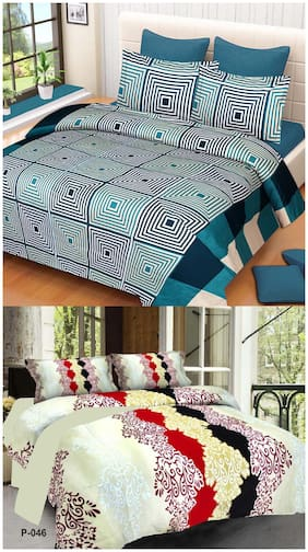 ProfitBlitz 3D Printed Poly Cotton Two Double Bed Sheet With Four Pillow Covers 3D68