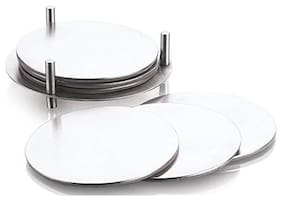 Profusion Stainless Steel Round Coaster with leather-rite Base