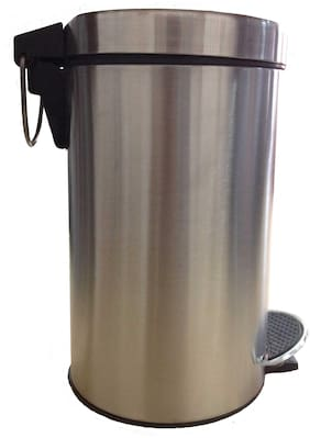 Profusion Stainless Steel 12 Ltr Pedal Dustbin Garbage Bin Plain With Plastic Bucket Inside
