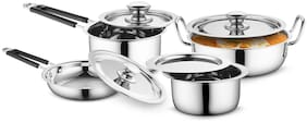 Profusion Stainless Steel Cookware 8 Pcs Set With Stainless Steel Lid- (Silver;Tope- 1.5 Litre;Karahi- 2.5 Litre;Sauce Pan- 1.5 Litre;Fry Pan- 1.7 Litre)