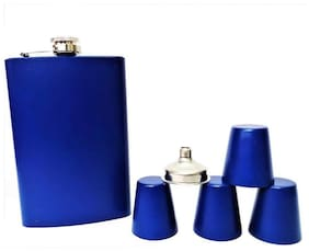 Protos Blue Matt Finish Hip Flask 9OZ Stainless Steel with Funnel Shots 6 Piece Bar Set