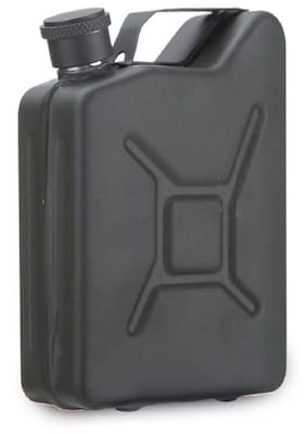 Protos Can Shape Hip Flask Black Matte Finish Stainless Steel 170 Ml