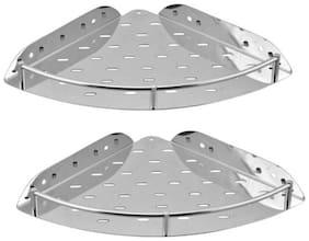 PSSS Aquafit Bathroom Corner Stainless Steel Wall Shelf  (Number of Shelves - 2, Silver)