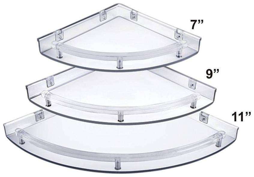 PSSS Unbreakable wall corner shelf Acrylic Wall Shelf   Number of Shelves   3, Clear