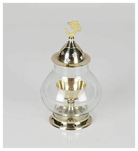 Puja N Pujari Akhand Diya Oil Lamp with Glass Cover Brass for Puja Home Decor