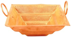 ROLIMOLI Pure Copper Hawan Kund with handle for home/temple vedic yagya pooja Small size of width 3.2 inch length 1.2inch)