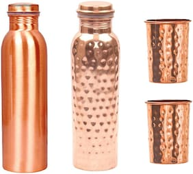 AYURPATRA 900 ml Copper Golden Water Bottles - Set of 4