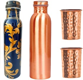 AYURPATRA 900 ml Copper Copper Water Bottles - Set of 4
