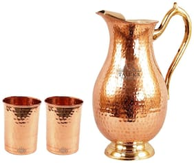 Pure Copper Hand Made Best Quality Copper Jug Capacity:-2000 ml Easy and Healthy Water Storage Jug/Pitcher Copper Jug With 2 Flat Hammer Glass