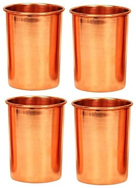 Pure Copper Glass Cup for Water Handmade Water Glasses Set of 4