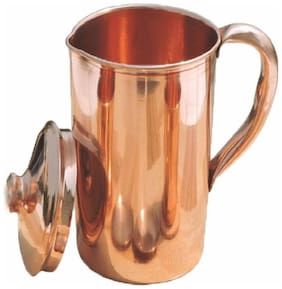 Pure Copper Jug Water Pitcher with Lid Capacity 1 L