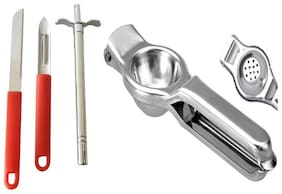 Pure Stainless Steel Lemon Squeezer with Bottle Opener and Gas Lighter + Vegetable Peeler + Kitchen Knife Combo
