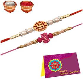 Purvani Designer Scented Rakhi with a Combo of Rakhi Card & Roli Chawal - Set of 2