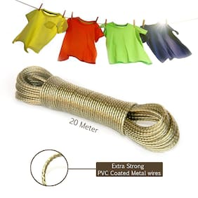 Ab ware 20 Meter PVC Coated Steel Anti-Rust Wire Rope Washing Line Clothesline with 2 Plastic Hooks