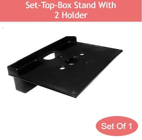 Qlex Plastic Set top box stand ( Black ,Number of Shelves- 1 )