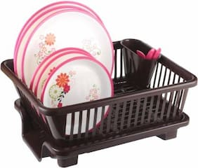 Qromos 3 In 1 Large Sink Set Dish Rack Drainer With Tray For Kitchen Plastic Kitchen Rack
