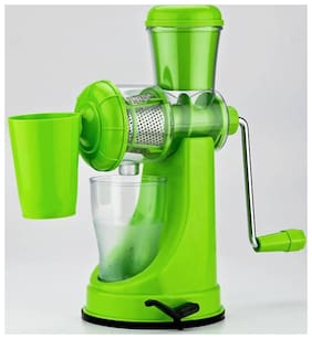 QROMOS Fruit and Vegetable Juicer, Manual Juicer, Hand Juicer, Non Electric Juicer with Steel Handle and Waste Collector (Multi color)