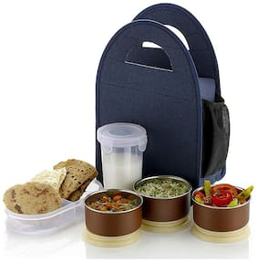 QROMOS 3 Containers Plastic & Stainless steel Lunch Box - Blue