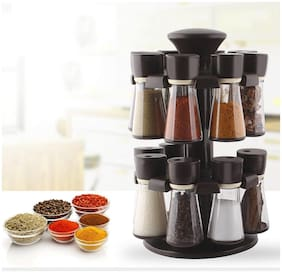 Qromos Revolving Spice Rack Container 16 pcs Polyproplene Spice Container (Black)