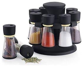 QROMOS Spice Storage, Masala Storage, Masala Box, Spice Box, Masala Rack, Spice Rack, Spice Jar, Spice Container, Masala Container, Spice Set, Kitchen Rack, Condiment Set Of 8 (Black)