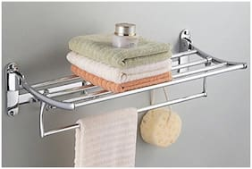 Qromos Stainless Steel (2 ft) Long Sturdy Silver Folding Towel Holder