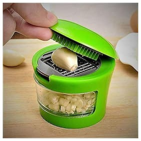 QROMOS Vegetable Crusher for Garlic, Ginger, Dry Fruits Chopper and Cutter (Green)