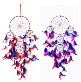 QS SALES Dream Catcher Combo, Wall Hangings, Home Decor, Handmade Dreamcatcher for Bedroom, Balcony, Garden, Party, Cafe, Big 5 Ring Beaded Feathers, 19cm Diameter, Length 75cm (Pack of 2)