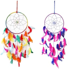 QS SALES Dream Catcher Combo Traditional Indian Wall Art for Bedrooms, Home Wall,Car, Hanging Design Multicolor  Feathers (Pack OF 2)