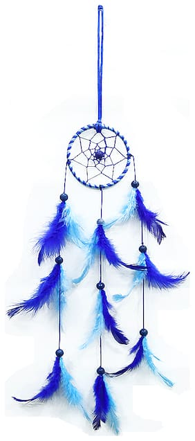 QS SALES Dream Catcher Wall,Car, Hanging Handmade Beaded Circular Net with Feather Decoration Ornaments Size 7.5cm Diameter Blue