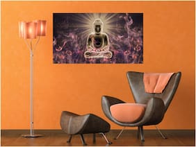 Qth Lord Meditating Gautama Buddha Wallpaper For Home Decoration Vinyl Wall Sticker (Size- 45X30 Cm)