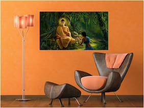 Qth Peaceful Lord Buddha With Wallpaper For Home Decoration Vinyl Wall Sticker (Size- 45X30 Cm)