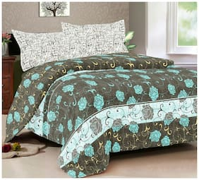 Gifty Cotton Floral Queen Size Bedsheet 104 TC ( 1 Bedsheet With 2 Pillow Covers , Grey )