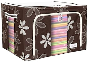 QUICK BAZAAR 66 Ltr Storage Bag with Collapsible & Double Opening Zip for Clothes, Bed Sheets & Blankets (1Pc) Assorted