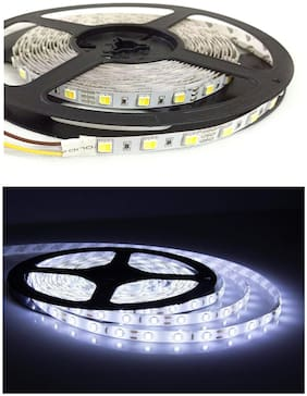 QUXXA 5meter 15foots Strip Light Waterproof Dustproof Led Bulb Strip Light With Adapter White Color