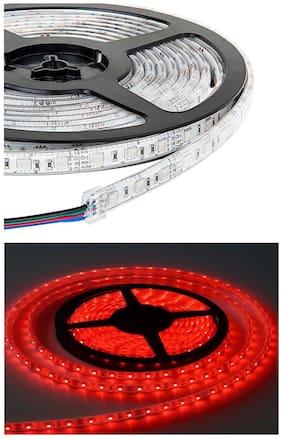 QUXXA 5meter 15foots Strip Light Waterproof Dustproof Led Bulb Strip Light With Adapter Red Color
