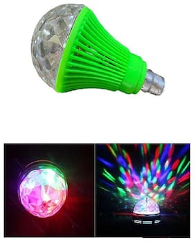 QUXXA LED Diwali Decorative Colorful Magic DJ Automatic Rotation Disco Party Bulb B22 Connector (Green)
