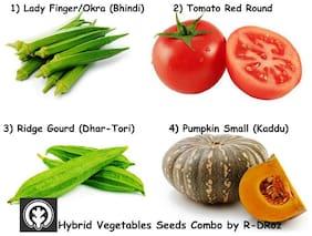 R-DRoz Combo of Vegetables Hybrid Seeds - Lady Finger(Bhindi/Okra),Tomato Round. Ridge Gourd(Dhar-Tori),Pumpkin Small (Kaddu)