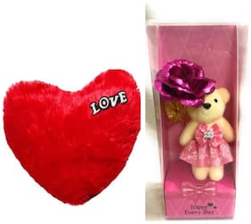 R J Star Combo of Heart fur Pillow Teddy Bear with I love You Tag With Red Roses for Your love wife Girlfriend on this Valentines Day