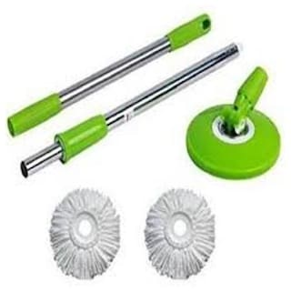 R J Star Home Cleaning 360 Spin Mop-Stick Also 2 Microfibre Pocha Wipe